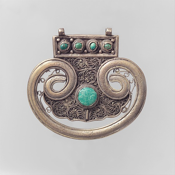 Lobed Plaque, Silver; chased, with filigree and decorative wire, slightly domed turquoises, and wax turquoise replacement