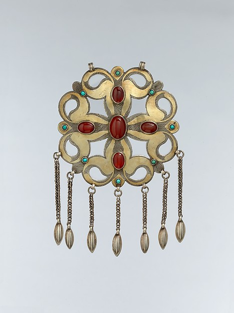 Pectoral Ornament, Silver; fire-gilded and chased, with openwork, wire chains, embossedpendants, slightly domed carnelians, and turquoise beads