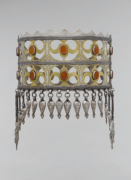 Crown, Silver; fire-gilded and chased, with openwork, table-cut carnelians, wire chains, and embossed pendants