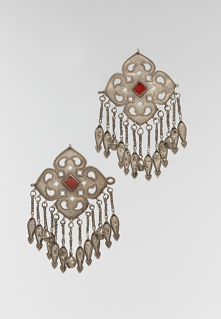 Pectoral Ornament, One of a Pair, Silver; fire-gilded with openwork, wire chains, embossed pendants, bells, and table-cut carnelians.
