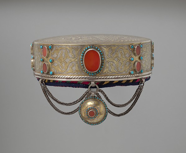 Crown, Silver; fire-gilded and chased with wire chains, table cut carnelians and turquoise beads; quilted cotton lining.