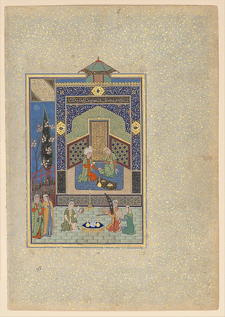 """Bahram Gur in the Turquoise Palace on Wednesday"", Folio 216 from a Khamsa (Quintet) of Nizami, Nizami (Ilyas Abu Muhammad Nizam al-Din of Ganja) (probably 1141–1217), Ink, opaque watercolor, silver, and gold on paper"