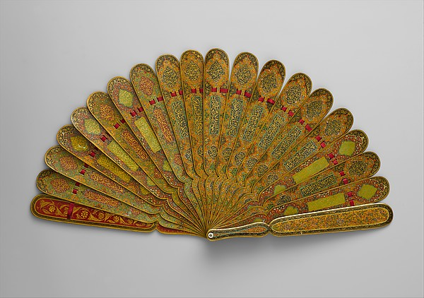 Fan with Poetic Verses, Wood; painted, gilded, and lacquered