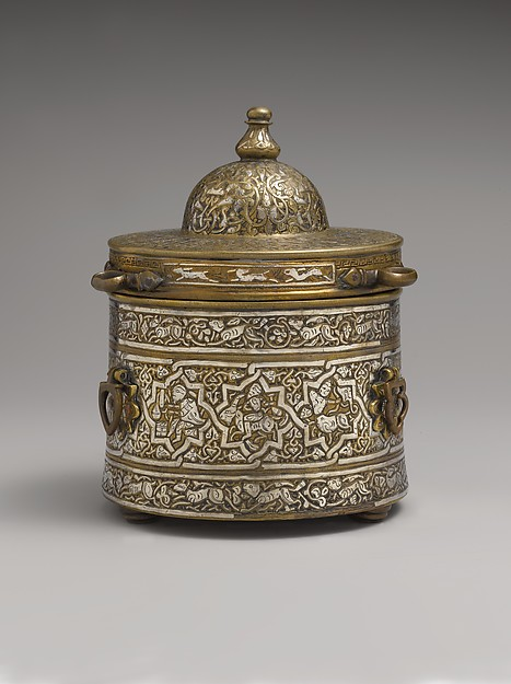 Inkwell with Zodiac Signs, Brass; cast, inlaid with silver, copper, and black compound