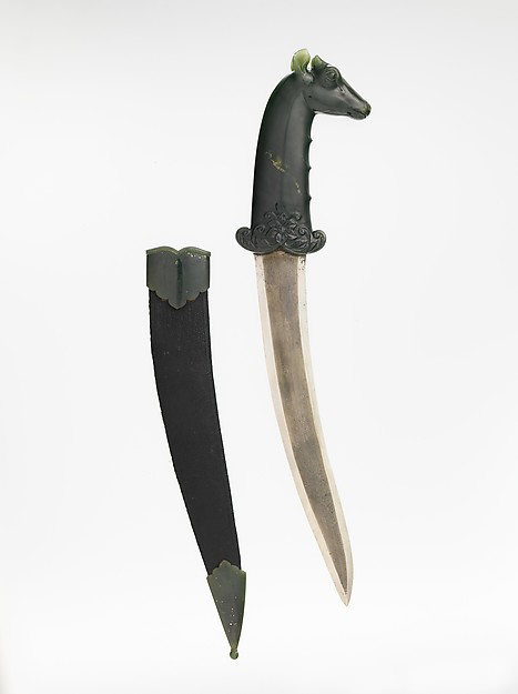Dagger with Hilt in the Form of a Blue Bull (Nilgai), Hilt: Nephrite Blade: Watered steel
