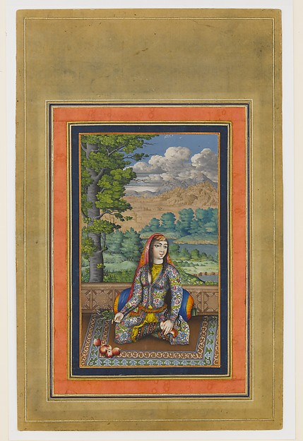 """Portrait of a Persian Lady"", Folio from the Davis Album, Ink, opaque watercolor, and gold on paper"
