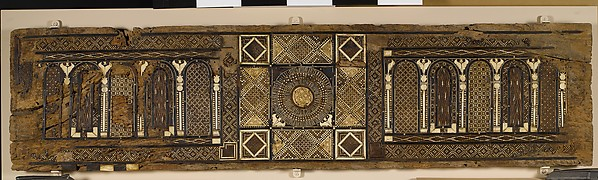 Panel (Lid from a Chest?), Wood (fig); mosaic with bone and four different types of wood