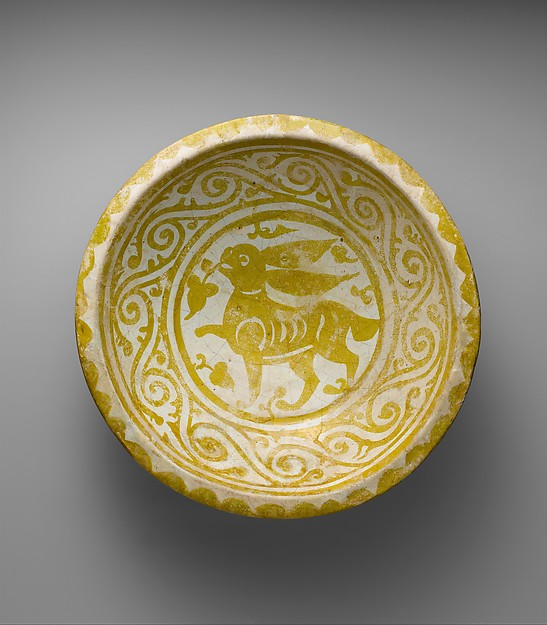 Bowl Depicting a Running Hare, Earthenware; luster-painted on opaque white glaze