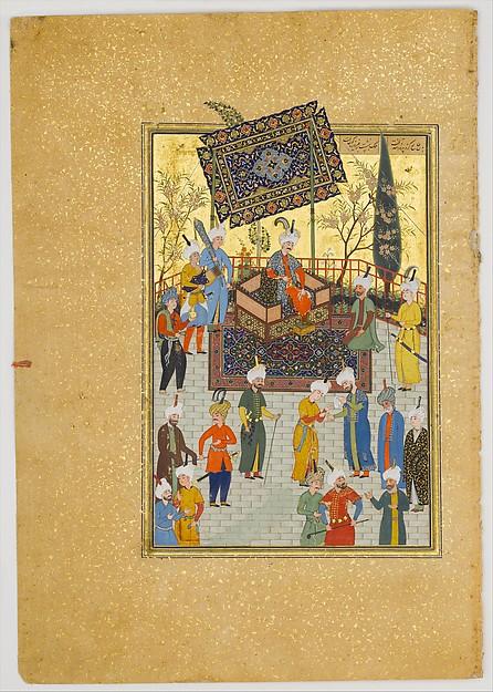 """Khusrau Seated on his Throne"", Folio 64 from a Khamsa (Quintet) of Nizami, Nizami (Ilyas Abu Muhammad Nizam al-Din of Ganja) (probably 1141–1217), Ink, opaque watercolor, and gold on paper"