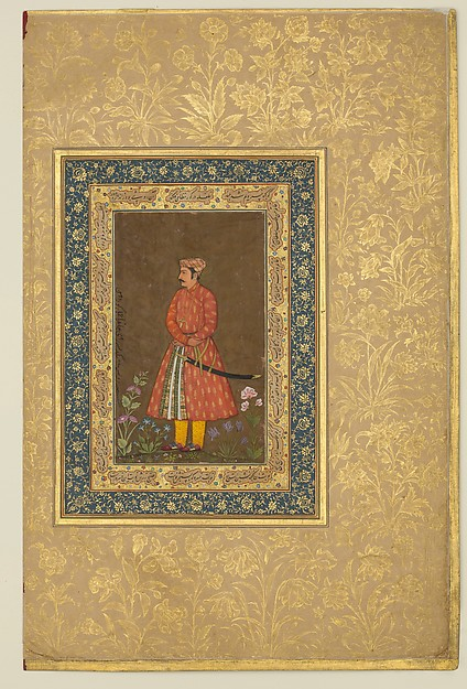 """""""Portrait of Rup Singh"""", Folio from the Shah Jahan Album, Painting by Govardhan (active ca. 1596–1645), Ink, opaque watercolor, and gold on paper"""