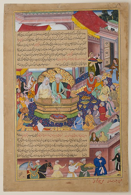 basawan tumanba khan his wife and his nine sons folio from   tumanba khan his wife and his nine sons folio from a