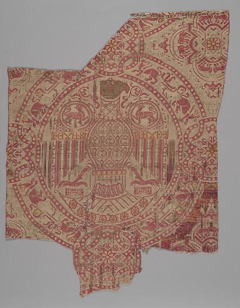 Spanish Textile, Silk, metal wrapped thread; lampas