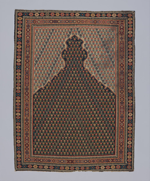 """Senneh"" Prayer Rug, Cotton (warp), wool (weft); tapestry-woven"