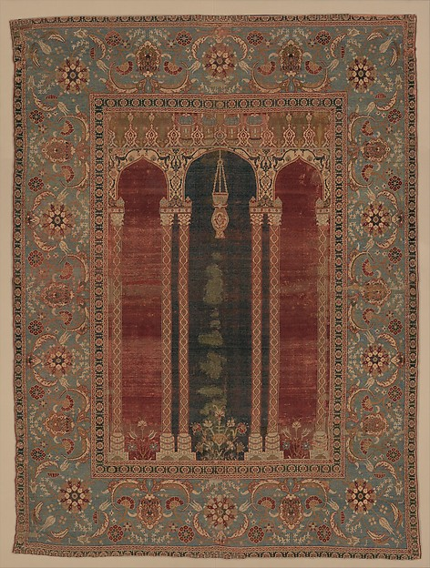 Carpet with Triple-Arch Design, Silk (warp and weft), wool (pile), cotton (pile); asymmetrically knotted pile