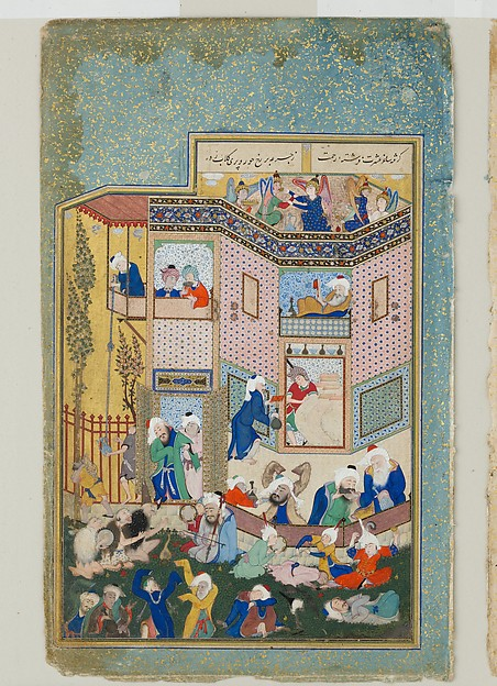 """""""Allegory of Worldly and Otherworldly Drunkenness"""", Folio from the Divan of Hafiz, Hafiz (probably 1325/6–90), Opaque watercolor, ink, and gold on paper"""