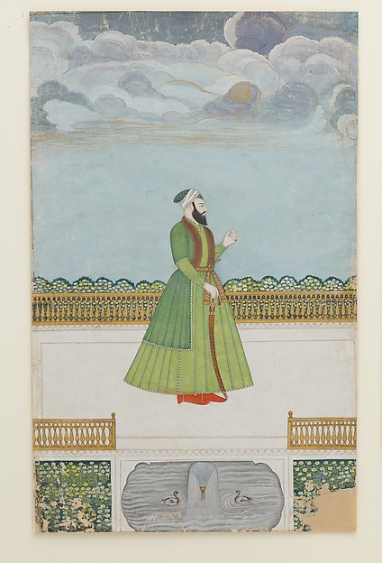 Nobleman on a Terrace, Ink, opaque watercolor, silver, and gold on paper