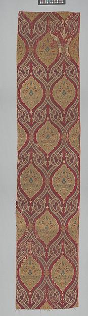Textile Fragment, Silk, metal wrapped thread; lampas (kemha)