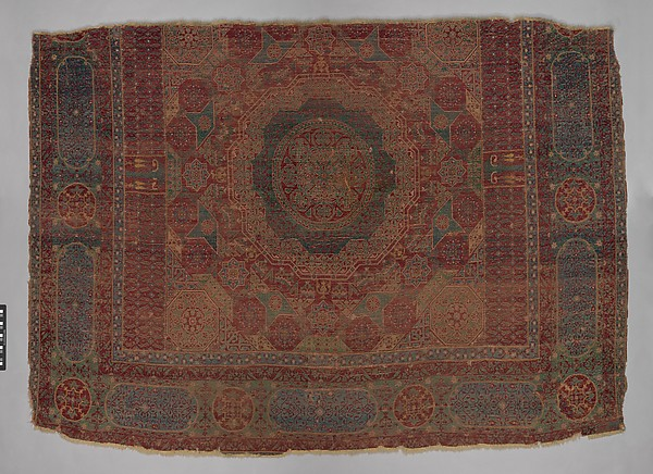 Mamluk Carpet, Wool, (warp, weft and pile); asymmetrically knotted pile