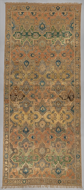 Polonaise Carpet, Cotton (warp and weft), silk (weft and pile), metal wrapped thread; asymmetrically knotted pile, brocaded