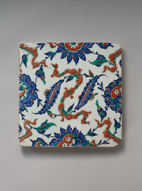 Tile with Floral and Cloud-band Design, Stonepaste; polychrome painted under transparent glaze