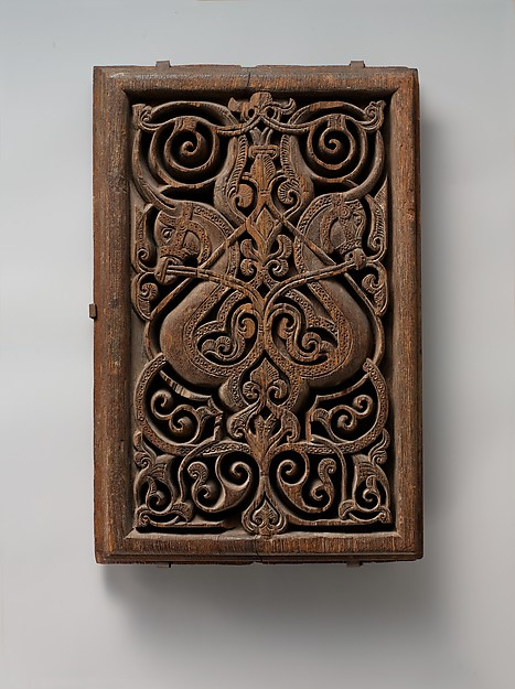 Panel with Horse Heads, Wood (teak); carved