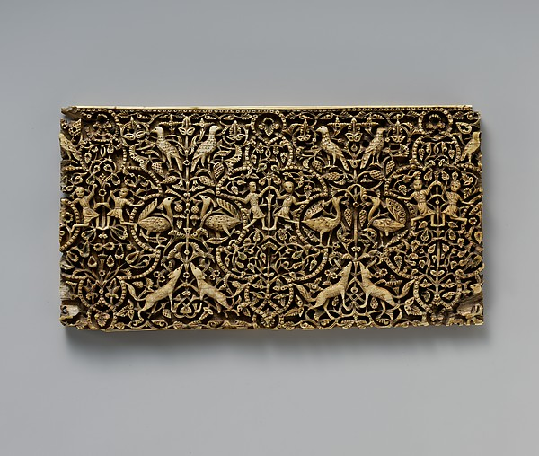 Panel from a Rectangular Box, Ivory; carved, inlaid with stone with traces of pigment