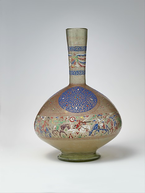 Enameled and Gilded Bottle, Glass, greenish; blown, folded foot; enameled and gilded