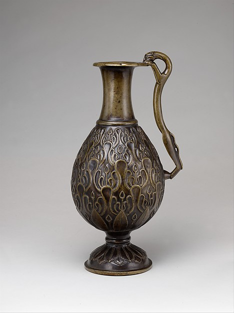 Ewer with a Feline-Shaped Handle, Bronze; cast, chased, and inlaid with copper