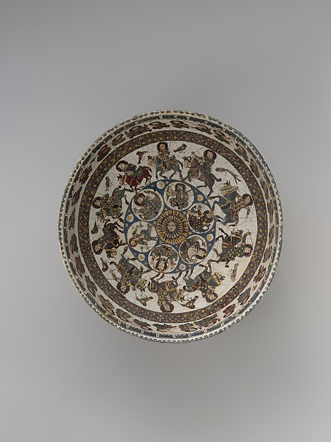 Bowl with Courtly and Astrological Motifs, Stonepaste; polychrome inglaze and overglaze painted and gilded on opaque monochrome glaze (mina'i)