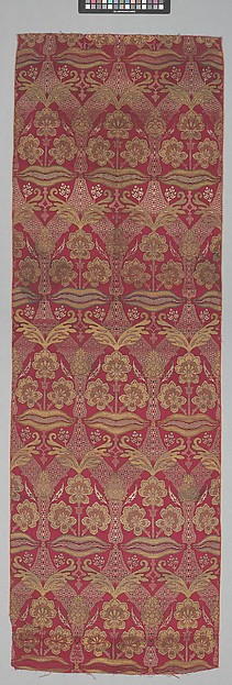 Loom Width with Floral and Tiger-stripe Design, Silk, metal wrapped thread; lampas (kemha)