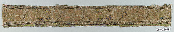 Fragment, Silk, linen, metal wrapped thread; twill weave, brocaded