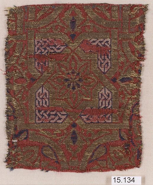 Fragment, Silk, metal wrapped thread; lampas