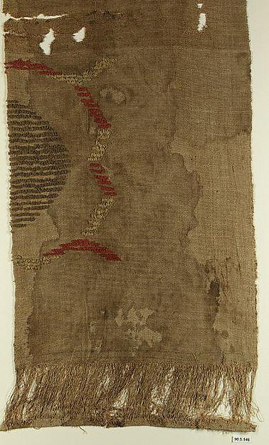 Fragment, Wool, linen; plain weave, weft loop weave