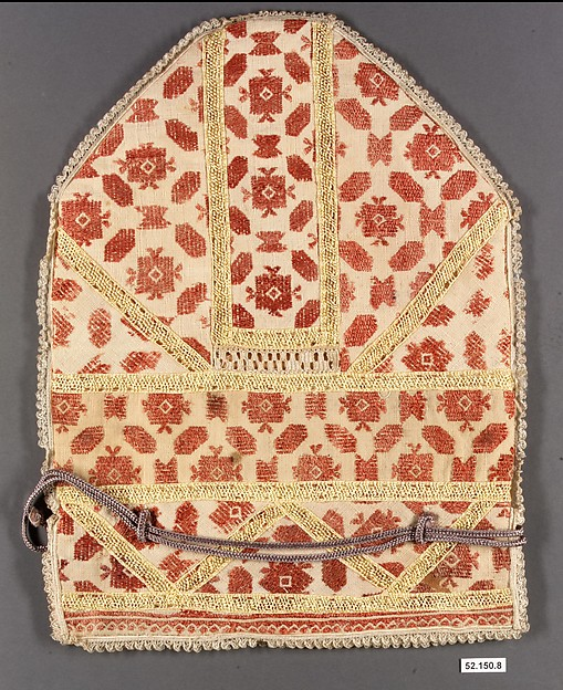 Bag, Cotton and silk; embroidered