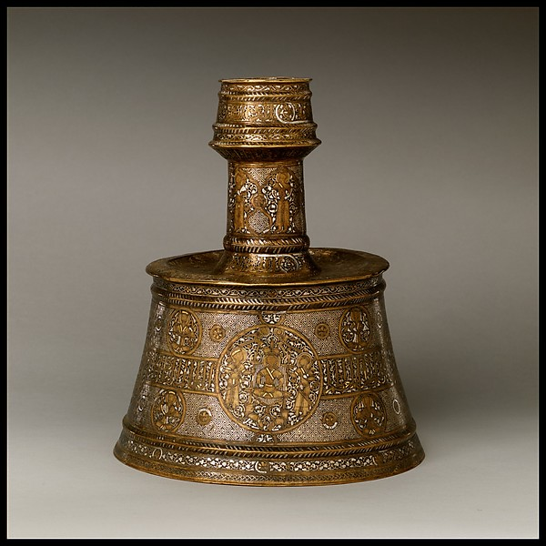 Candlestick, Brass; inlaid with silver, gold, and black compound