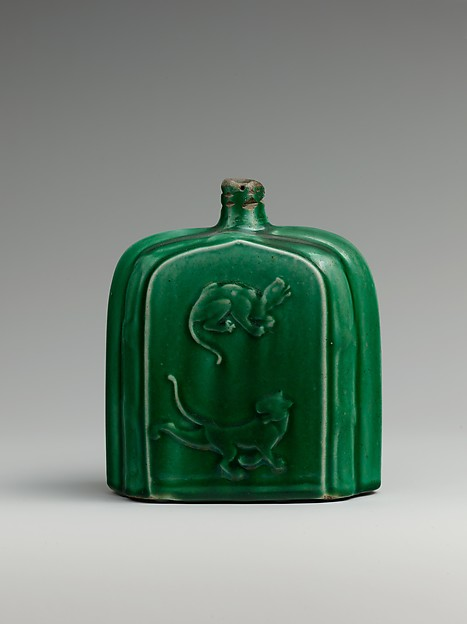 Bottle, Stonepaste; molded and glazed