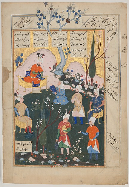 """""""Birth of Zal"""", Folio from a Shahnama (Book of Kings), Abu'l Qasim Firdausi (935–1020), Ink, opaque watercolor, and gold on paper"""