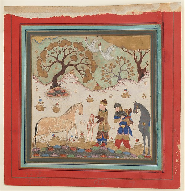 """""""Rustam Captures Rakhsh"""", Folio from a Shahnama (Book of Kings), Abu'l Qasim Firdausi (935–1020), Main support: Ink, opaque watercolor, gold on paper Margins: Ink and gold on dyed paper"""