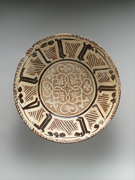 "Bowl with Arabic Inscription, ""Blessing, Prosperity, Well-being, Happiness"", Earthenware; white slip with polychrome slip decoration under transparent glaze"