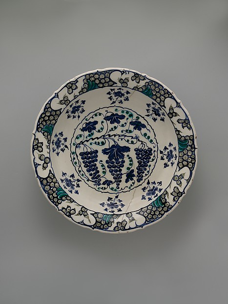 Plate with Grapes, Stonepaste; polychrome painted under transparent glaze