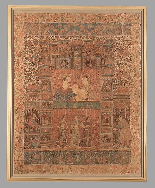 Kalamkari Hanging with Figures in an Architectural Setting, Cotton; plain weave, mordant-painted and dyed, resist-dyed