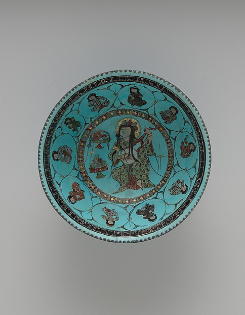 Turquoise Bowl with Lute Player and Audience, Stonepaste; glazed (opaque monochrome), in-glaze- and overglaze-painted, gilded