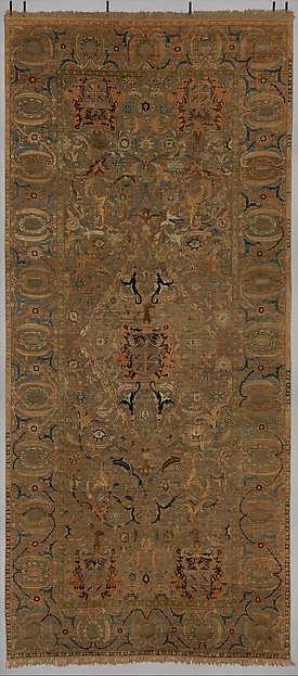 The Czartoryski Carpet, Cotton (warp), silk (weft and pile), metal wrapped thread; asymmetrically knotted pile, brocaded