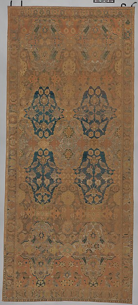 'Polonaise' Carpet, Cotton (warp and weft), silk (weft and pile), metal wrapped thread; asymmetrically knotted pile, brocaded
