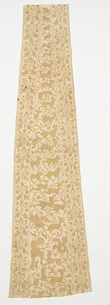 Panel from a Mantle or Apron, Cotton, tasar silk; plain weave, embroidered