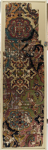 Khurasan Carpet Fragment, Cotton (warp), silk (weft), wool (weft and pile); asymmetrically knotted pile