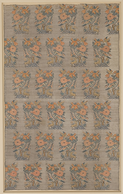 Panel with Rosebush, Birds, and Deer Pattern, Silk, silver- and gilded metal wrapped thread; compound twill weave, brocaded