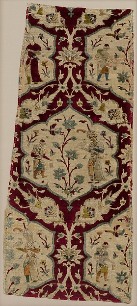 Velvet with Figural Imagery, Silk, metal wrapped thread; cut and voided velvet