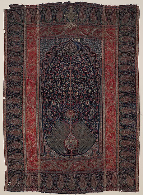 Woven Wall Hanging, Wool, metal wrapped thread; double interlocking twill; tapestry weave, embroidered