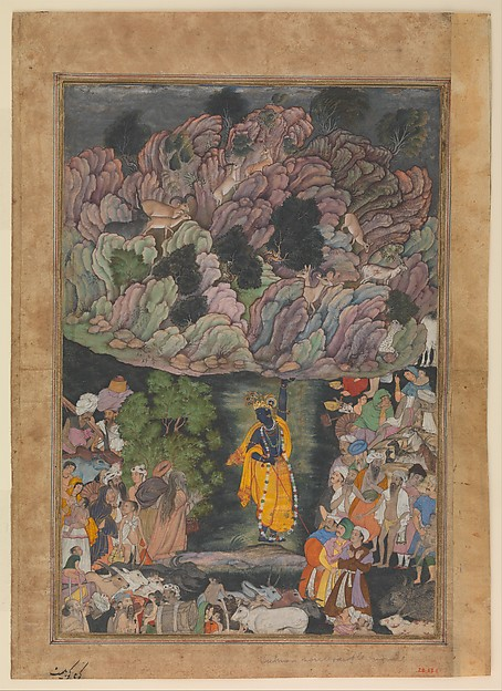 """Krishna Holds Up Mount Govardhan to Shelter the Villagers of Braj"", Folio from a Harivamsa (The Legend of Hari (Krishna)), Ink, opaque watercolor, and gold on paper"